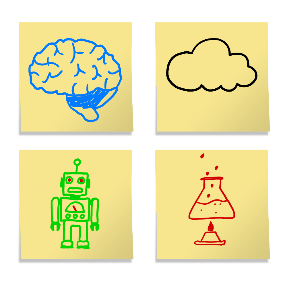 Four sticky notes with hand drawn pictures of a brain for creativity, a robot for machine learning, a chemistry experiment and a cloud.